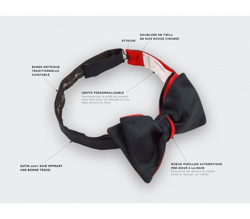 CINABRE Paris - Bow Tie - Satin Noir - Made in France