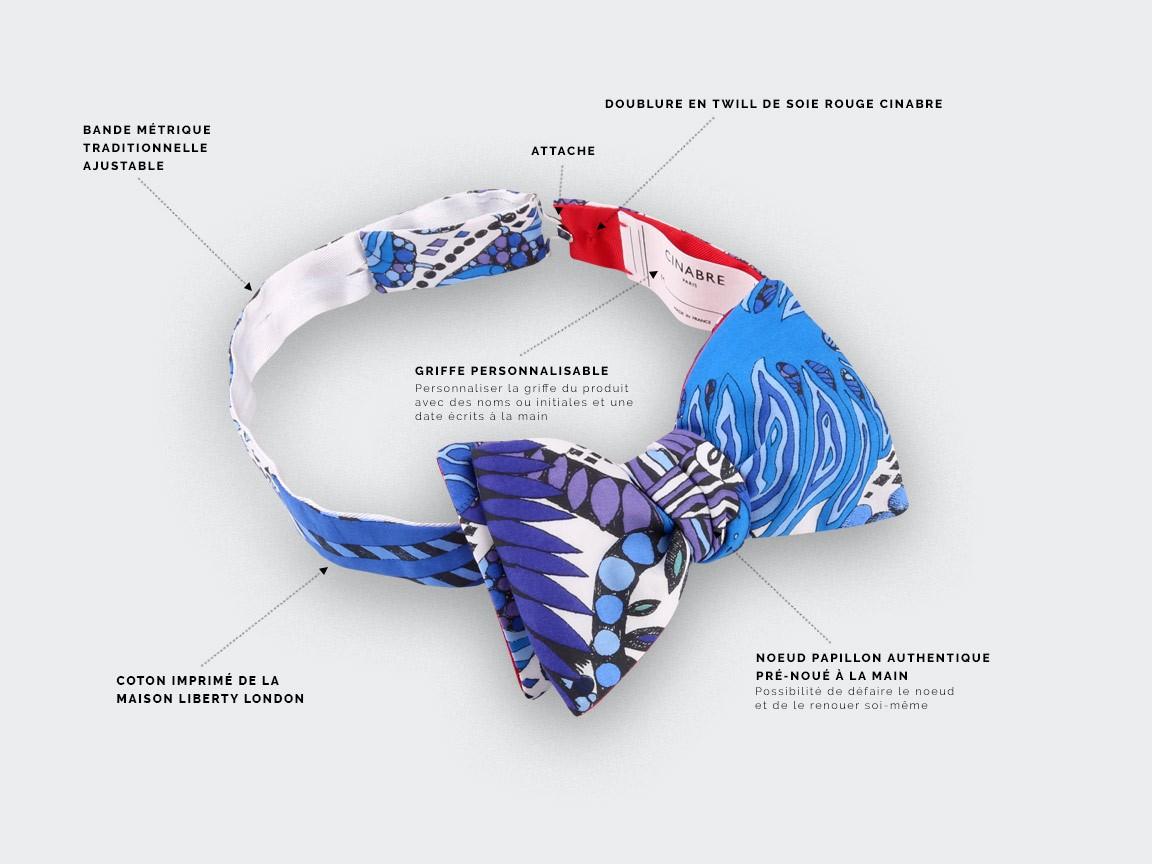 CINABRE Paris - Noeud Papillon - Afro Bleu - Fait Main
