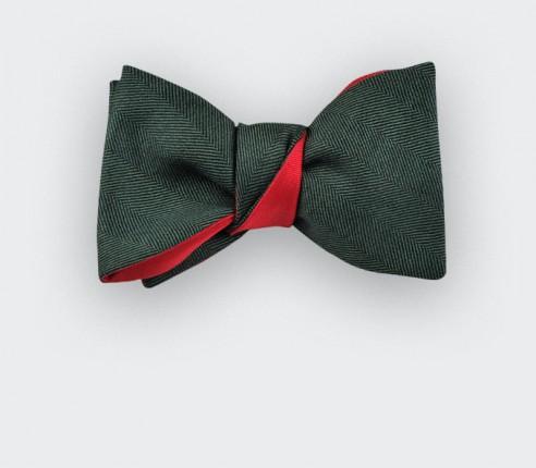 Dark Green Herringbone Bow Tie