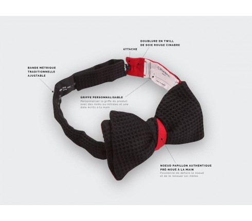 CINABRE Paris - Bow Tie - 3D Noir - Made in France