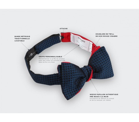 CINABRE Paris - Bow Tie - 3D Marine - Made in France