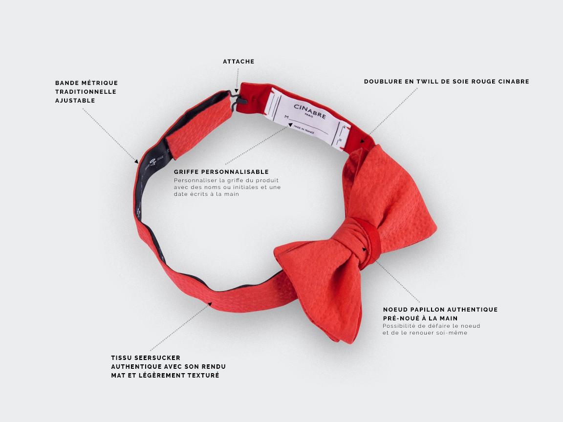bow tie red seersucker - seersucker cotton and silk - CINABRE Paris