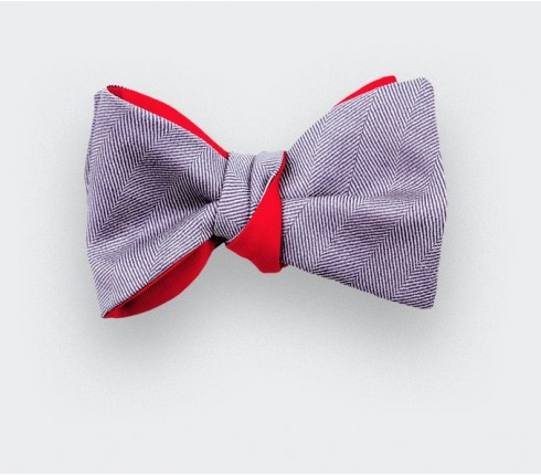 lavender herringbone bow tie - wool and silk - cinabre paris