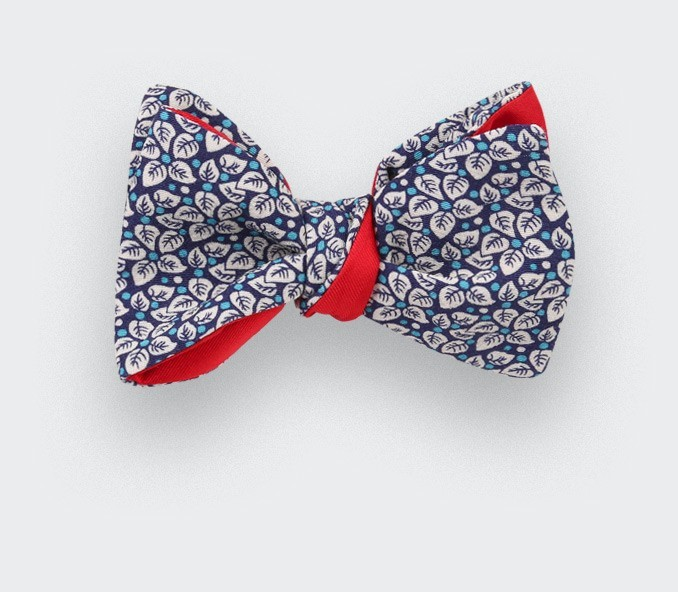 turquoise blue flower bow tie - cotton - cinabre paris