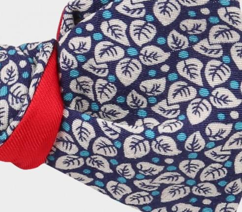 noeud papillon fleuri bleu turquoise - coton - cinabre paris