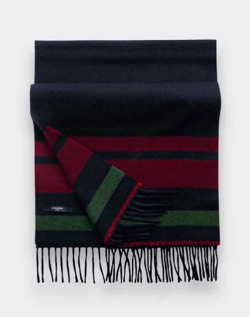 Red Black Regenerated Cashmere Scarf