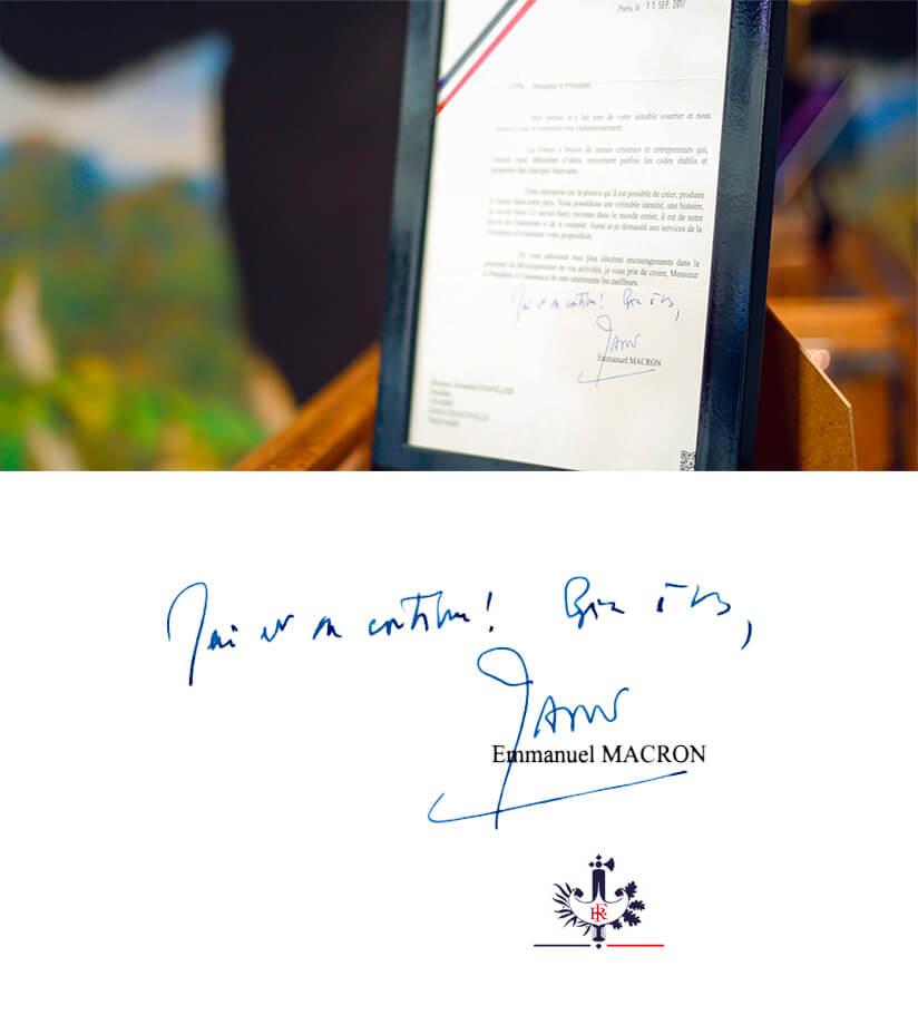 Letter of president of France, Emmanuel Macron to Cinabre
