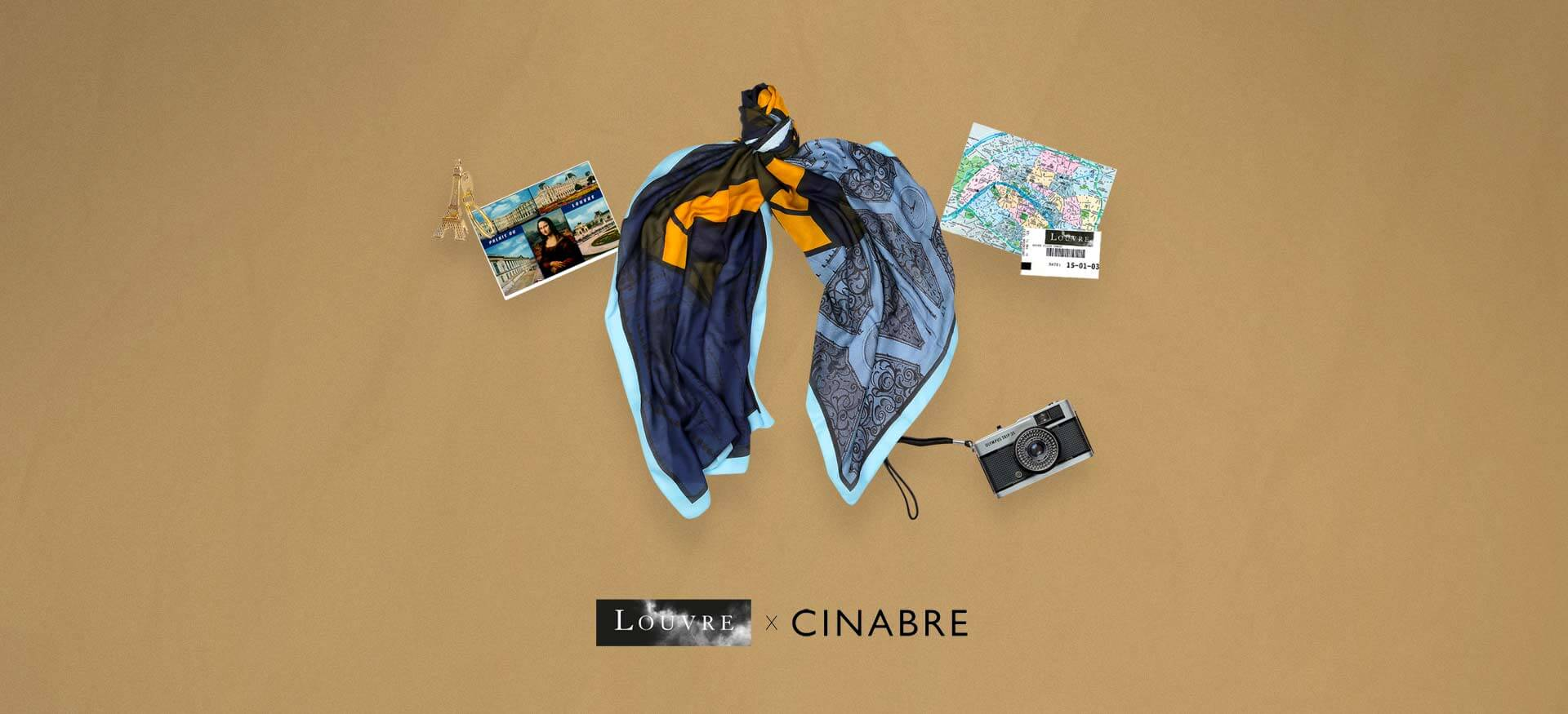 Scarf Cinabre x Musee du Louvre collage touriste