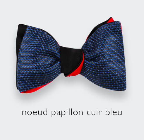 Cinabre blue leather bow tie