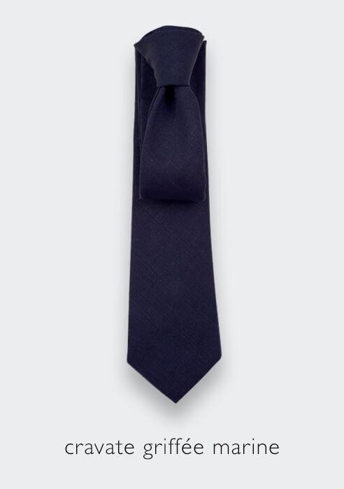 Cinabre navy blue griffé tie