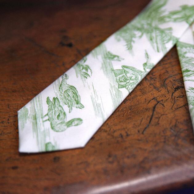 Cinabre green toile de Jouy tie